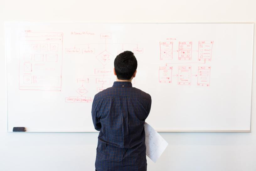 programmer in front of whiteboard during interiew